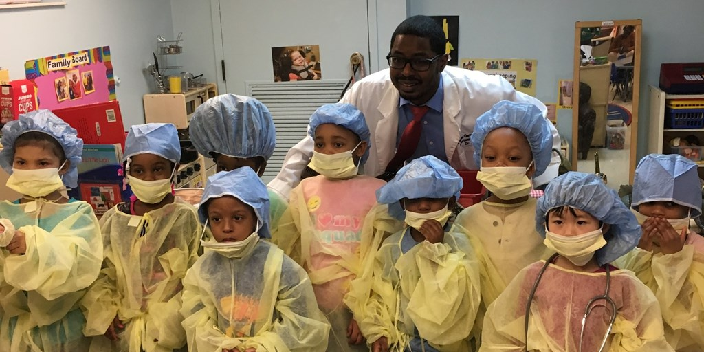 Medical residents host Doctors' Day show-and-tell with preschool students