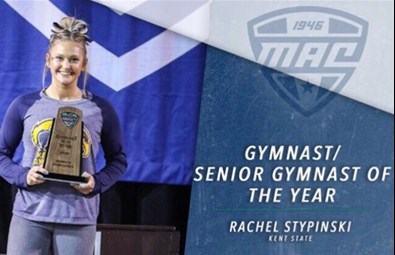 Rachel Stypinksi was named the 2018 MAC Gymnast of the Year and Senior Gymnast of the Year. Just the third repeat winner since the inaugural award was given in 1997, Stypinski had the conference's highest regular season Regional Qualifying Score (RQS) for all-around (39.065), floor (9.930) and beam (9.910). She entered the weekend ranked ninth in the country on floor and 11th on beam.